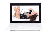 Little laptop with erotic video on screen isolated on white — Stock Photo