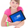 Teenage girl holding tablet pc with login form on screen isolate — Stock Photo #56174923