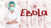 Ebola concept - young female doctor or nurse in surgeon mask iso — Stok fotoğraf
