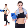 Two happy slim women with yoga mats, towels and bottles of water — Stock Photo #57890633
