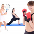 Sport concept - female tennis player, female boxer and woman doi — Stock Photo #57890635