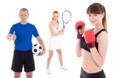 Sport concept - soccer player, female tennis player and woman in — Stockfoto