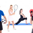 Sport concept - sporty people with equipment isolated on white — Stock Photo #58491529