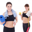 Two happy slim women with yoga mat, towels and bottles of water  — Stock Photo #58491589