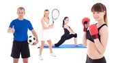 Sport concept - sporty people with equipment isolated on white — Stock Photo