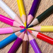 Close up of colour drawing pencils on wooden table — Stock Photo #59587021