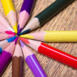 Close up of colorful drawing pencils on wooden table — Stock Photo #60324519