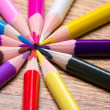 Close up of many colored drawing pencils on wooden table — Stock Photo #61609971