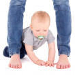 Little baby boy toddler and mother's legs isolated on white — Stock Photo #63270121