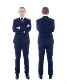 Front and back view of young man in business suit isolated on wh — Stock Photo
