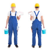 Front and back view of young man painter in blue coveralls isola — Stock Photo