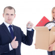 Moving day concept - business man giving key to woman with cardb — Stock Photo #64503265