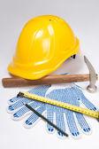 Builder's tools - helmet, work gloves, hammer, pen and measure t — Zdjęcie stockowe