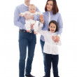 Family portrait - father, mother, daughter and son isolated on w — Stock Photo #66052969