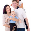 Funny family portrait - father, mother, daughter and son isolate — Stock Photo #66053289