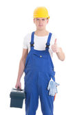 Man in builder uniform and helmet with toolbox thumbs up isolate — Stock Photo