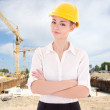 Business woman architect in yellow builder helmet  — Stock Photo #69891525