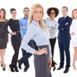 Leadership concept - young beautiful business woman and her  col — Stock Photo #74351159