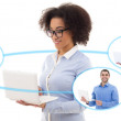 International business concept - young business woman and his te — Stock Photo #74351353