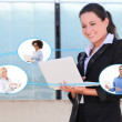 International business and internet concept - business woman tal — Stock Photo #74351443