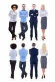 Back and front view of young business people isolated on white — Stock Photo
