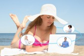 International business and social network concept - young woman — Stock Photo