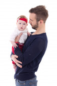 Happy young father with little daughter isolated on white — Stock Photo