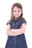 Funny cute little girl in denim dress with crossed hands isolate — Stock Photo
