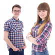 Portrait of handsome teenage boy and beautiful girl isolated on — Stock Photo #78209508