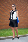 School concept - beautiful smiling teenage girl with backpack — Stock Photo