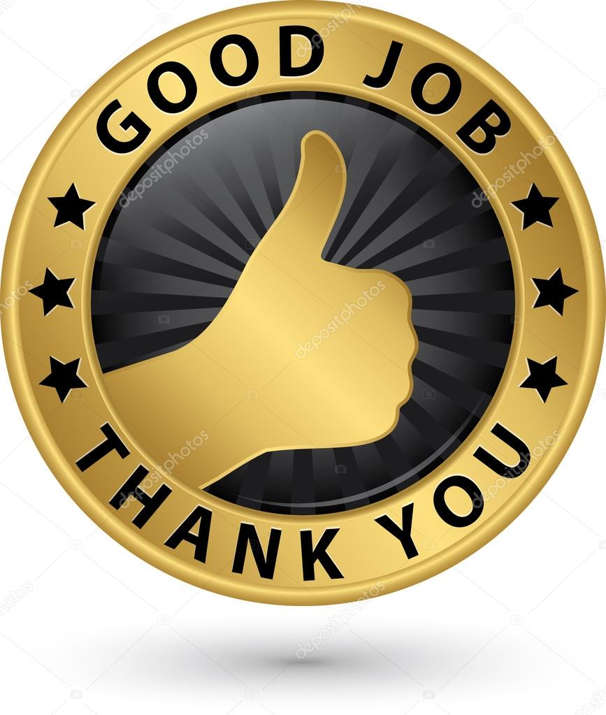 good job thank you golden label thumb up vector illustrati good job thank you golden label thumb up vector illustrati stock vector