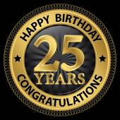 25 jaar gelukkige verjaardag Gefeliciteerd gold label, vector illus — Stockvector