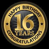 16 years happy birthday congratulations gold label, vector illus — ストックベクタ