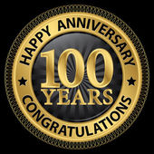 100 years happy anniversary congratulations gold label with ribb — Stock Vector