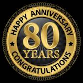 80 years happy anniversary congratulations gold label with ribbo — Wektor stockowy