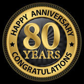 80 years happy anniversary congratulations gold label with ribbo — ストックベクタ
