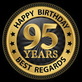 95 years happy birthday best regards gold label,vector illustrat — 图库矢量图片
