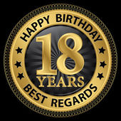 18 years happy birthday best regards gold label,vector illustrat — Stockvektor