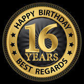 16 years happy birthday best regards gold label,vector illustrat — Stockvector