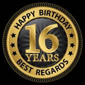 16 years happy birthday best regards gold label,vector illustrat — Vector de stock