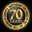 70 years happy birthday to you from all of us gold label,vector  — Stock Vector #55907123
