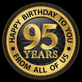95 years happy birthday to you from all of us gold label,vector  — Stock Vector