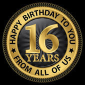 16 years happy birthday to you from all of us gold label,vector  — Stock Vector