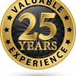 25 years valuable experience gold label, vector illustration  — Stock Vector #56587061