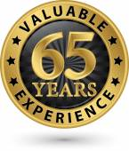 65 years valuable experience gold label, vector illustration  — Stock Vector