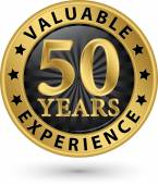 50 years valuable experience gold label, vector illustration  — Vecteur