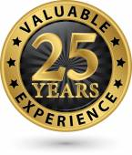 25 years valuable experience gold label, vector illustration — Stock Vector