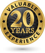 20 years valuable experience gold label, vector illustration  — Stock Vector