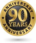 90 years anniversary gold label, vector illustration  — Stockvektor
