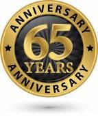 65 years anniversary gold label, vector illustration  — Stockvektor